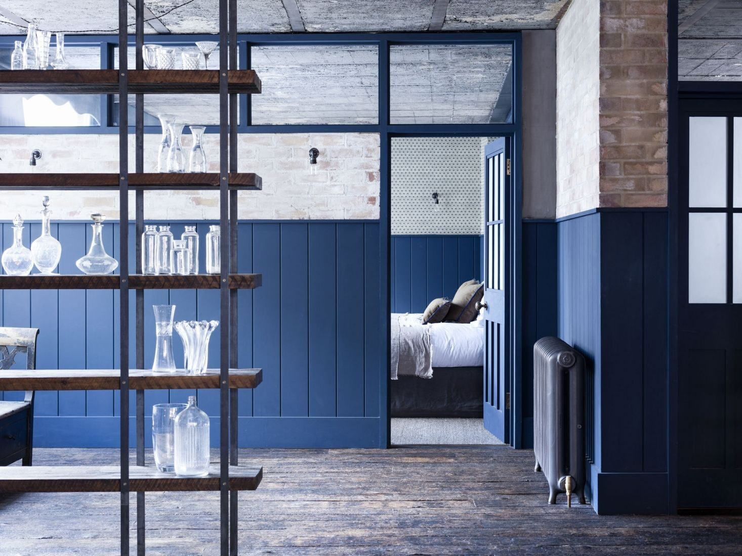 Mark-Lewis-Interior-Design-Hoxton-Square-loft-blue-and-white-bedroom-tongue-and-groove-paneling-Rory-Gardener-photo-11-1466x1100